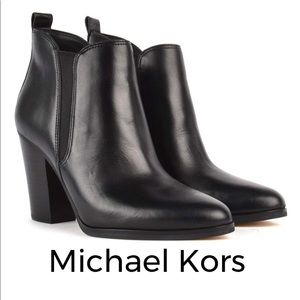 Michael Kors 🖤 Brandy Leather Booties Silver Logo